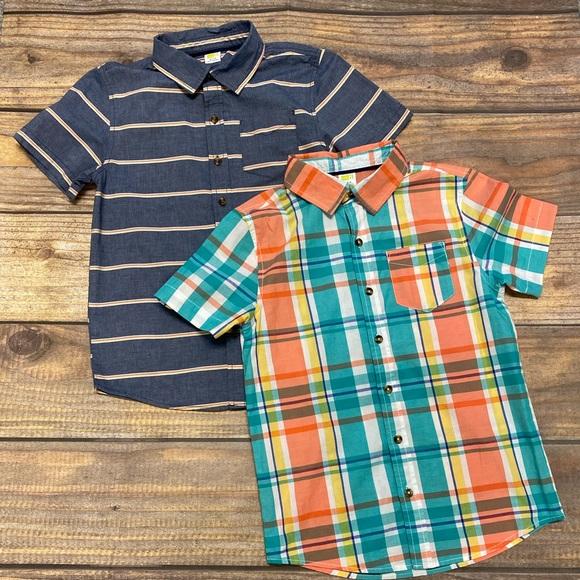 NWT Crazy 8 Boys Size 3T or 4T Orange Plaid Button-Up Shirt /& Shorts 2-PC SET